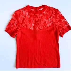 Nanette Lepore Red Lace Merino Top Short Sleeve
